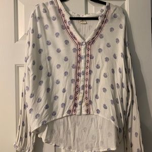 O'Neill Long Sleeve Casual Cropped Blouse